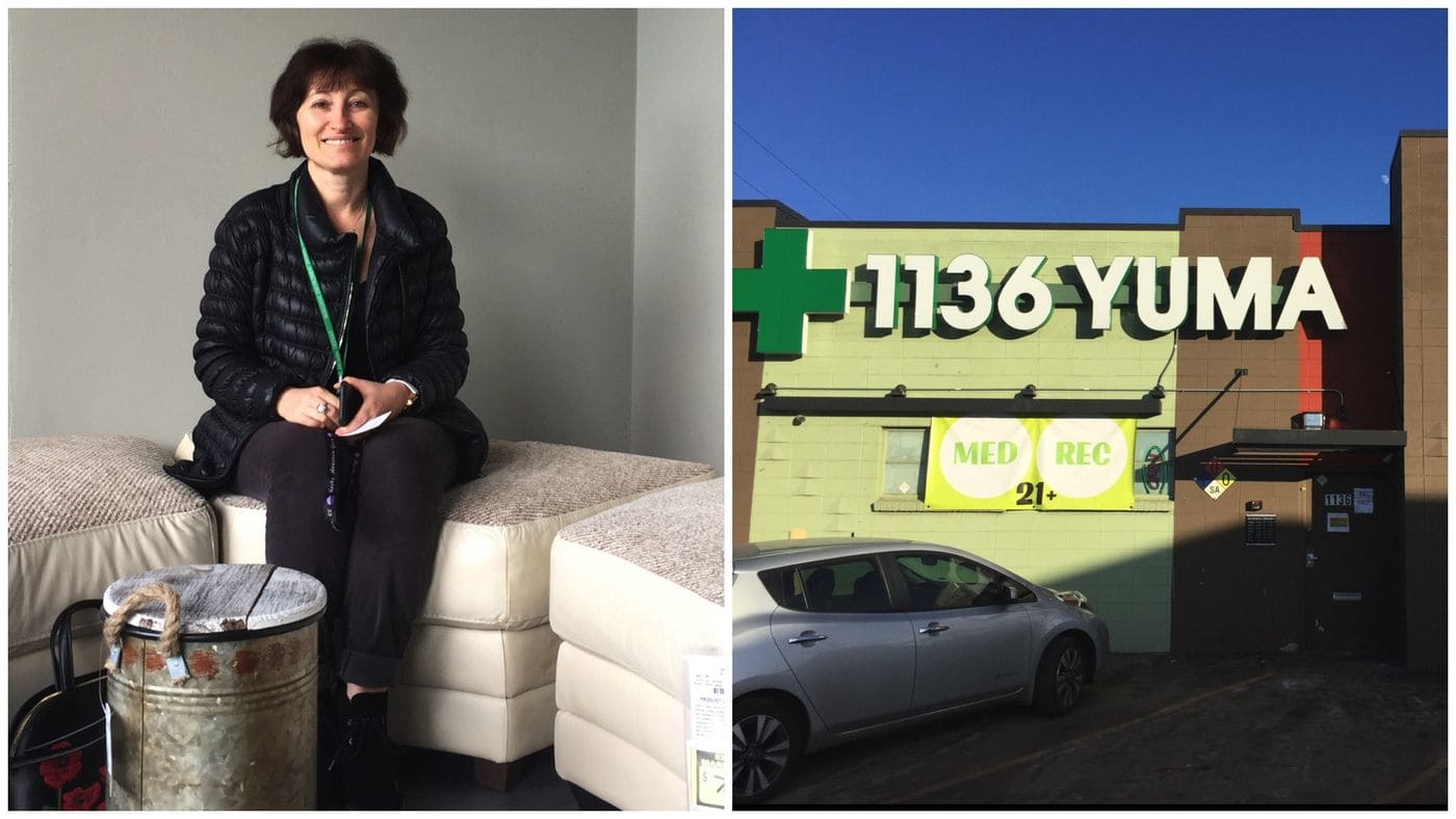 Rita Tsalyuk sits inside the Coffee Joint, her soon-to-open shop that will allow patrons to consume pot edibles and use marijuana vape pens. Next door is her recreational dispensary, 1136 Yuma.